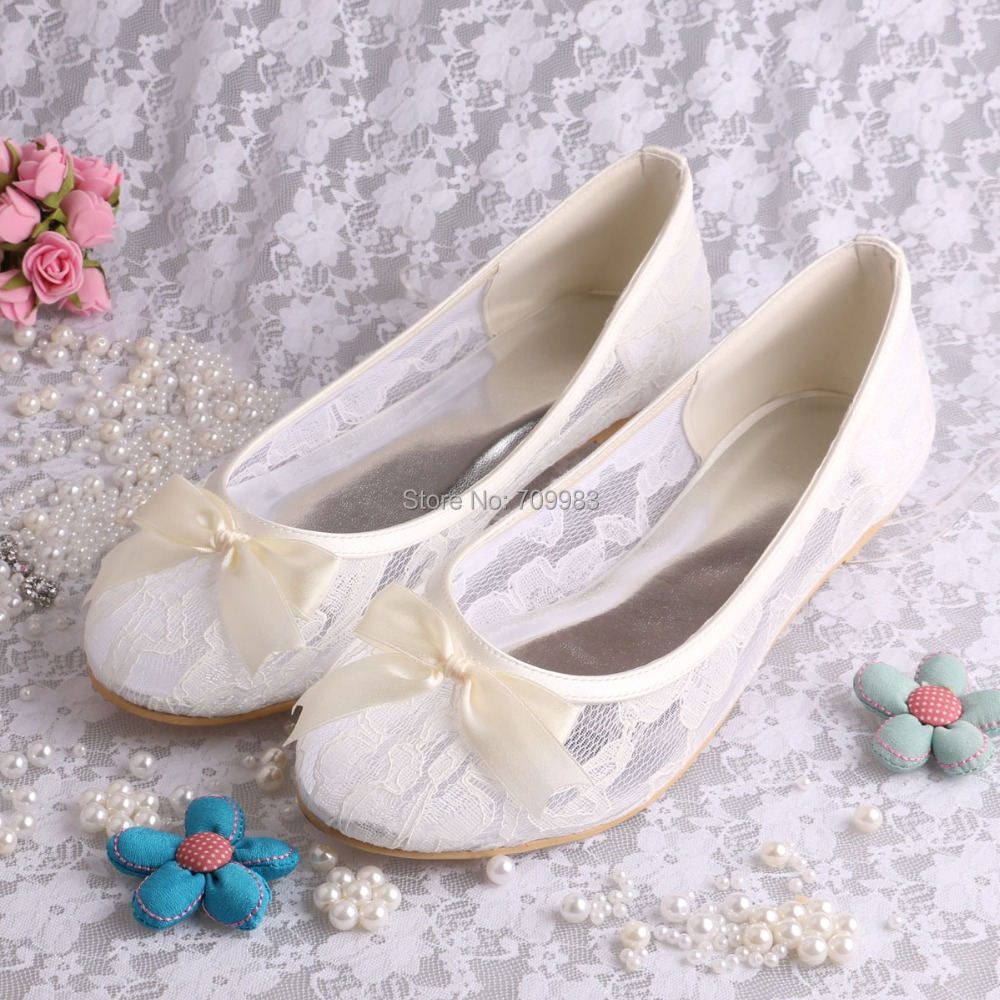 Custom Handmade White Ivory Lace Ballet Wedding Bridal Flats Shoes Women With Bowtie In Womens
