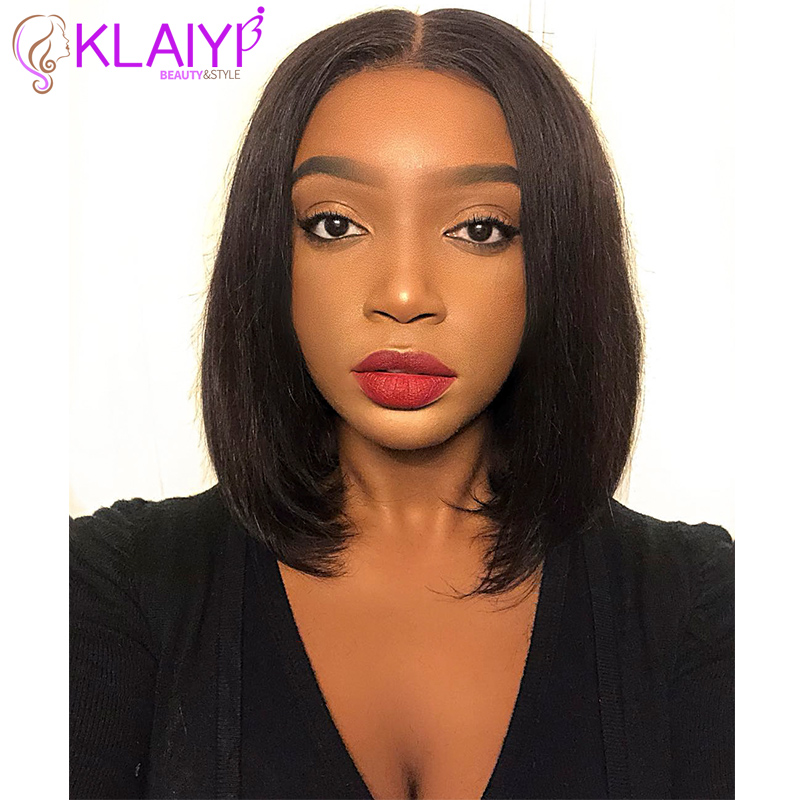Klaiyi Hair Wigs Lace-Front Straight Bob Brazilian Pre Plucked 8-14inch 150%Density 13--4/13--6inch