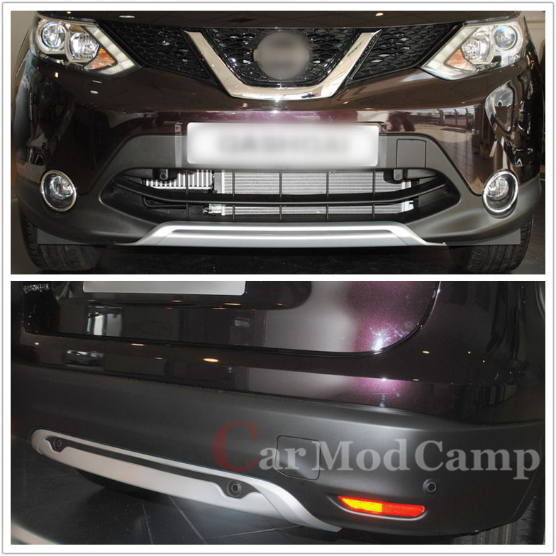 For Nissan Qashqai J11 2014 2015 2016 Set Front+Rear Bumper Skid Protector Plate Cover Trim ABS Car Styling accessories high quality for qashqai 2016 car body styling cover detector abs chrome rear door bottom tailgate frame plate trim lamp 1pcs