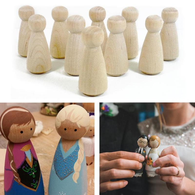 10pcs Natural Wood Peg Dolls Kids DIY Craft Handmade Handicrafts Home Decorations Unfinished Ramp Preparation Painting Toys