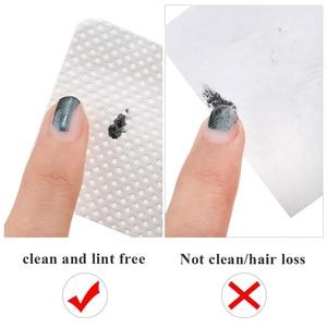 Image 3 - מוך משלוח לק מסיר כותנה מגבונים UV ג ל טיפים Remover מנקה נייר כרית פולנית אמנות ניקוי מניקור כלים