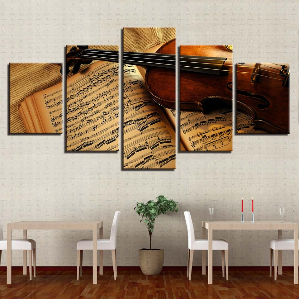 HD Printed Painting Decor Posters Frame Living Room 5 Panel Musical Instrument Violin Score Book Modern Wall Art Pictures Home