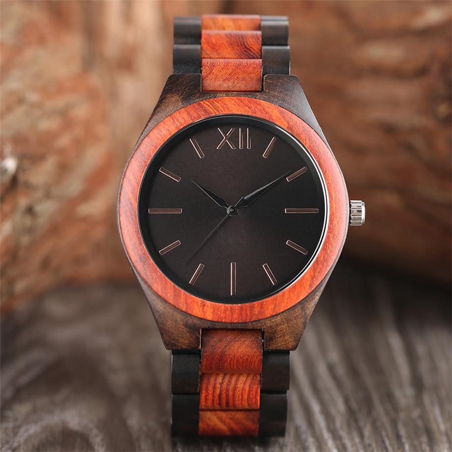 Dark Brown Sapphire Blue Nature wood watch men casual 6