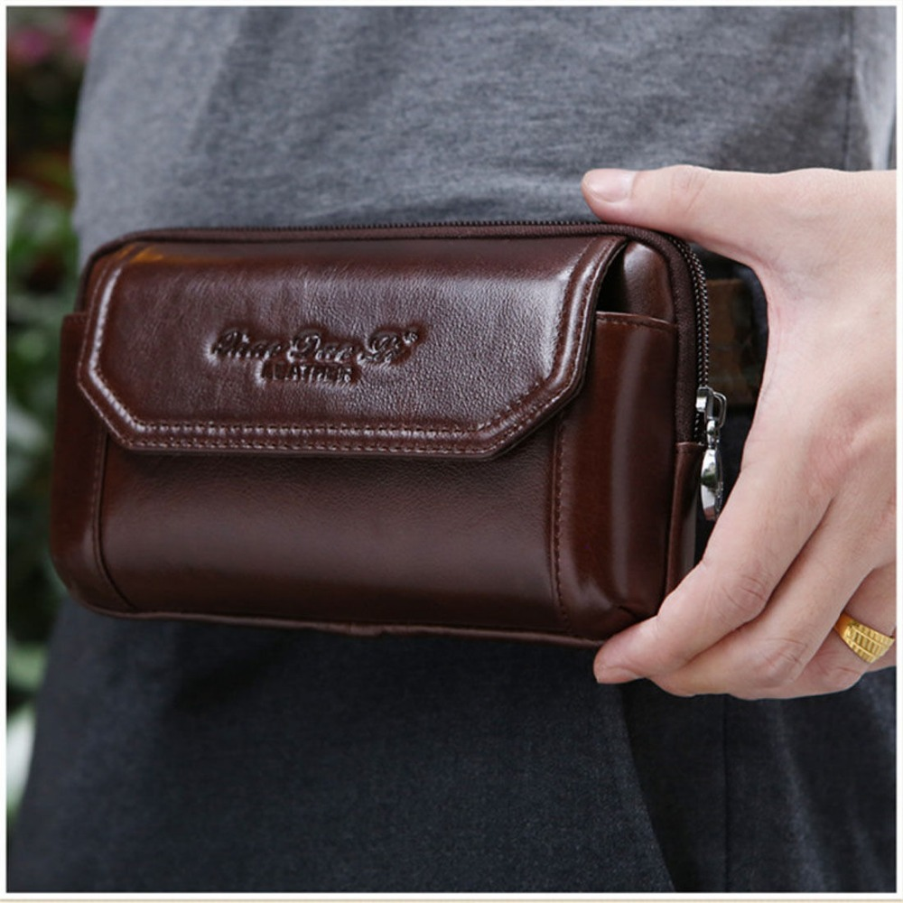 New Fashion Men Genuine Leather Vintage Cell/Mobile Phone Cover Case skin Hip Belt Bum Purse Fanny Pack Waist Bag Pouch men vintage crazy horse genuine leather fanny waist pack bag mobile phone case coin purse belt hip bum messenger shoulder bags