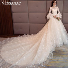 VENSANAC Pearls O Neck Ball Gown Stars Appliques Wedding Dresses 2018 Lace Flare Long Sleeve Chapel Train Bridal Gowns