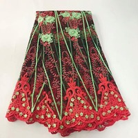 R 2017 Fashion African Lace Fabric Tulle With Beads And Stones High Quality African French Lace