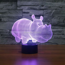 3D Cute Wild Animal Rhinoceros Night Light 7 Color Change LED Table Lamp Xmas Toy Gift