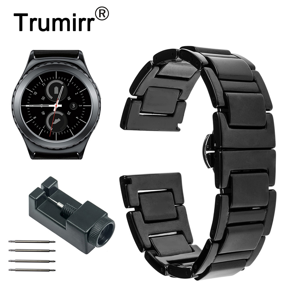 20mm Ceramic Watchband for Samsung Gear S2 Classic R732 R735 Gear Sport Moto 360 2 42mm Men Smart Watch Band Link Strap Bracelet for samsung gear s2 classic black white ceramic bracelet quality watchband 20mm butterfly clasp