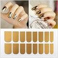 Новое прибытие металлик ногтей наклейки, зеркало ложные советы ногтей, мода хром ногтей наклейки для украшения искусства ногтя, 16 шт./упак.