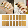 New arrival metallic nail sticker, mirror false nail tips, fashion chrome nail decals for nail art decoration, 16pcs/pack