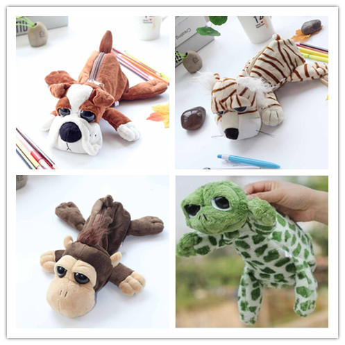 Gift wholesale 10pcs big eyes tiger monkey turtle dog bulldog hippo creative plush pencil bag case prize stuffed toy