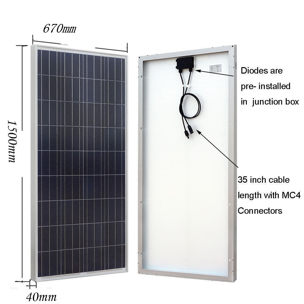 Usa Uk Stock 300w 2x150w Poly Solar Panel 12v Off Grid System Charger Further Power Also Street Light Circuit 45a Controller Combiner Box For Rv Home In Energy Systems From Consumer