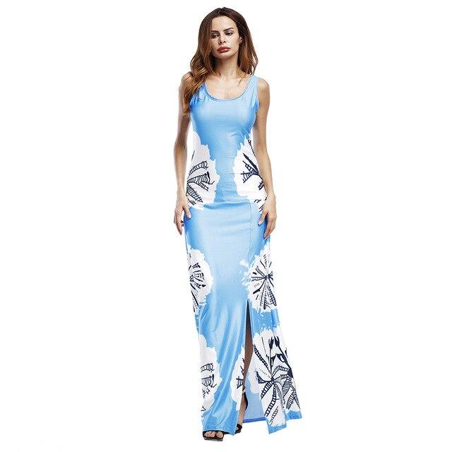 652db9fc80f 2019 Boho Maxi estampado de flores Vestido largo de verano Casual Sexy  nuevas mujeres playa vestido