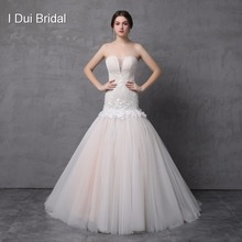 Dropped Waistline Tulle Lace Wedding Dress with Delicate Handmade Flower Light Champagne Large Volume Skirt