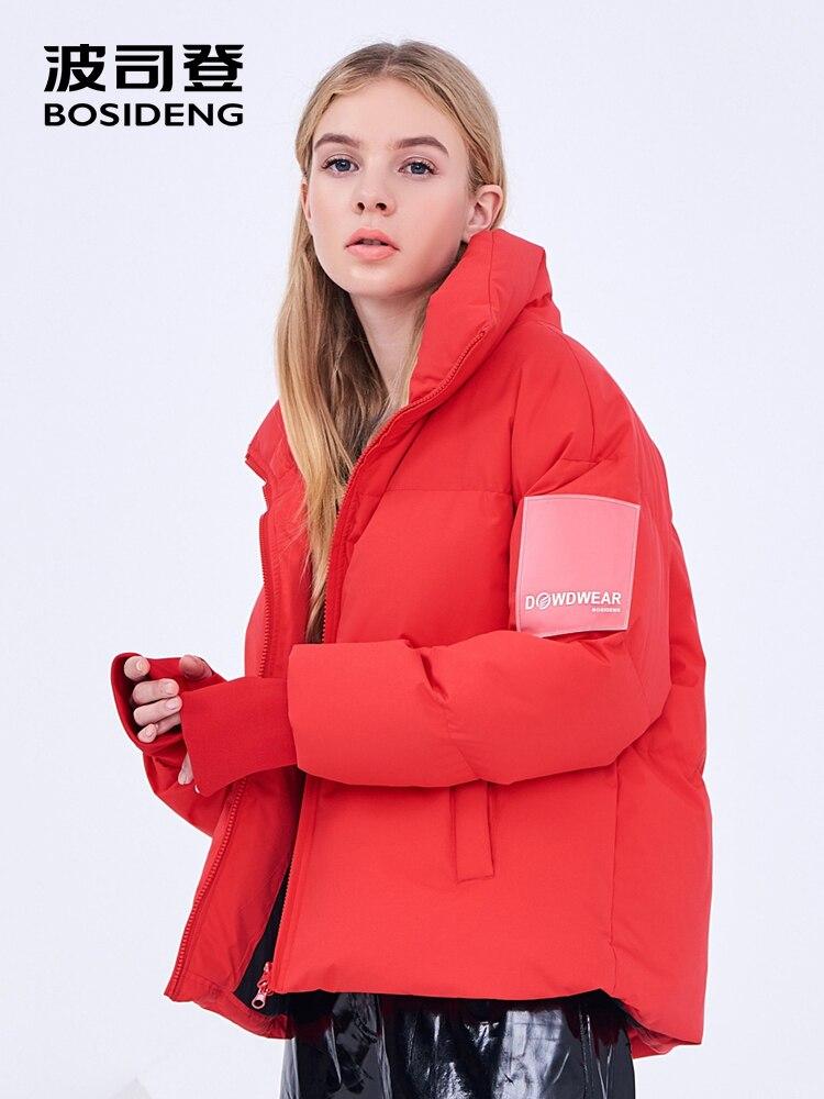BOSIDENG ผู้หญิง 2018 ฤดูหนาวใหม่เป็ดลงเสื้อสุภาพสตรีแฟชั่น thicken down coat stand collar outerwear สั้น B80142582DS-ใน เสื้อโค้ทดาวน์ จาก เสื้อผ้าสตรี บน   1