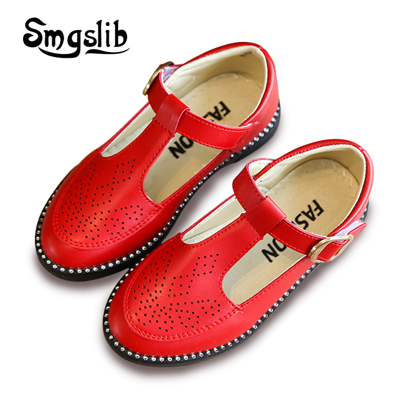 Girls shoes kids 2017 Retro Toddler patent leather Princess Party Hollow Out Flower comfortable Breathable Children shoes
