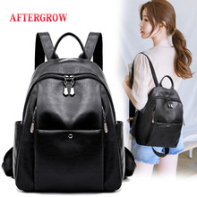 2019 New Korean Preppy Style Soft Leather Backpack Double Zipper Teenager Girls Student Backbag Unisex satchel Travel Back Bags preppy style genuine leather brief grey and black student backpack soft cow leather zipper fashion lady double shoulder bag gift
