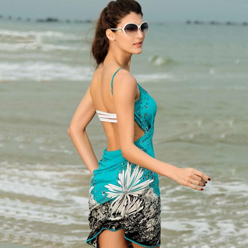 45abb3a459 Summer Women Polyester Beach Dress Sexy Sling Beach Wear Sarong Bikini  Cover up Wrap Skirt Scarf Shawl Towel Open Back Swimwear-in Cover-Ups from  Sports ...