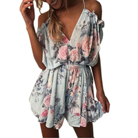2017 Women Print Lace Rompers Jumpsuit Short Pleated Overalls Jumpsuit Female Chest Wrapped Strapless Playsuit Macacao