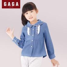 GuaGuaEgg Autumn and Winter Girls Blouses Denim Long Sleeve Fashion Collar Original Design Children Blue Shirts US Size 4 – 14