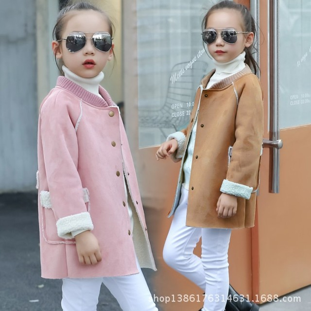 new fashion kids Children clothing baby girls wool blends with lamb fur overcoat girls fashion color woolen coat