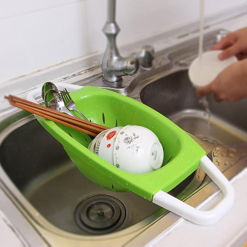 Folding Plastic Storage Wash Holder Basket Kitchen Shelf Tray Bowl Dripper Vegetable Washing Sink Drain Frame Rack Fruit Fold