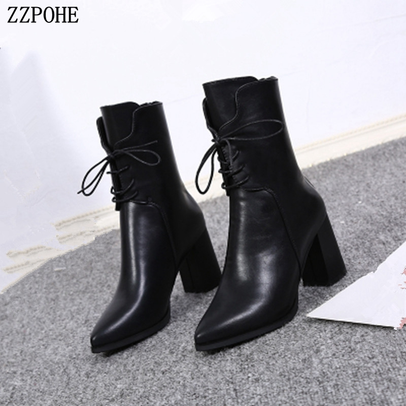 SOFT LEATHER HIGH HEEL ANKLE BOOTS