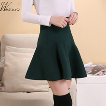 wmwmnu new womens elastic Knitted skirt High quality casual sexy mini skirts female China cheap fashion high waist skirt