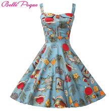 Belle Poque Rockabilly Womens Summer Style Dresses 2018 robe Pin Up Retro Vintage 50s Audrey Hepburn Swing Print Casual Clothing