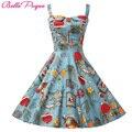 Belle Poque Rockabilly Womens Verão Vestidos Estilo 2017 robe Retro Pin Up Vintage 50 s Audrey Hepburn Balanço Ocasional Impressão roupas