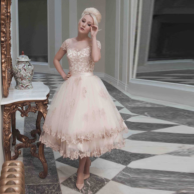 Online Shop MANSA Vestidos De Novia Vintage Short Lace Wedding Dress Turkey Knee Length A Line Mini Dresses 2015 Robe Mariage