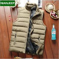 NIANJEEP 2017 Autumn Winter Jackets Waistcoat New Fashion Thicken Men Jacket Sleeveless Vest Khaki Black Army
