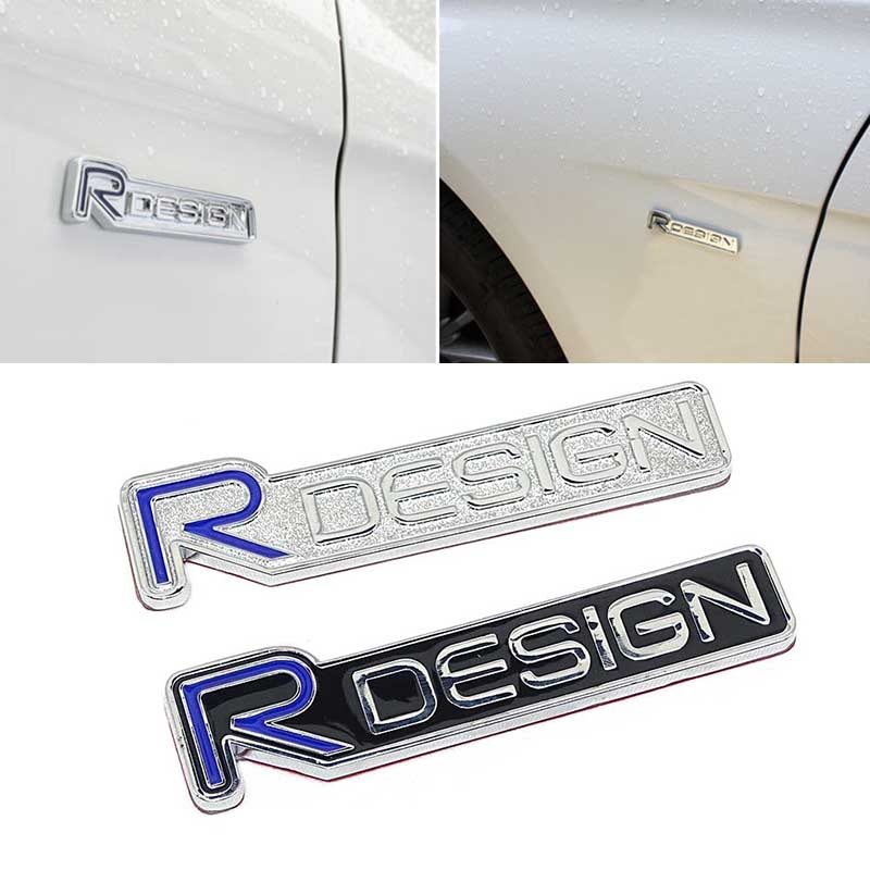 3D metal Zinc alloy R DESIGN RDESIGN letter Emblems Badges Car sticker car styling Decal For Volvo V40 V60 C30 S60 S80 S90 XC60 2 pc free shipping rear sticker hilux off road decal for toyota hilux decals badges detailing sticker