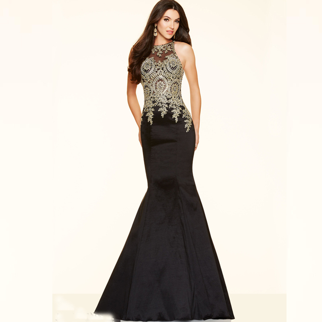 Aliexpress.com : Buy Sexy Long Gold And Black Prom Dresses 2015 ...