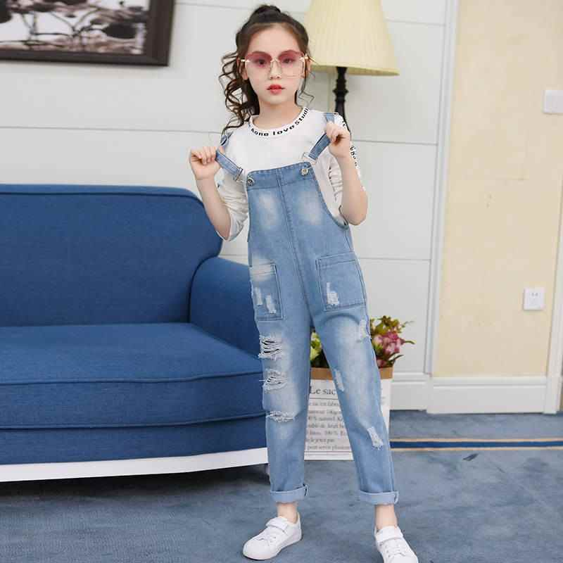 2019 Spring Summer Kids Girs Hole Ripped Jeans Pants Children Denim Jumpsuit Overall Trousers Teenage Loose Casual Leggings W39