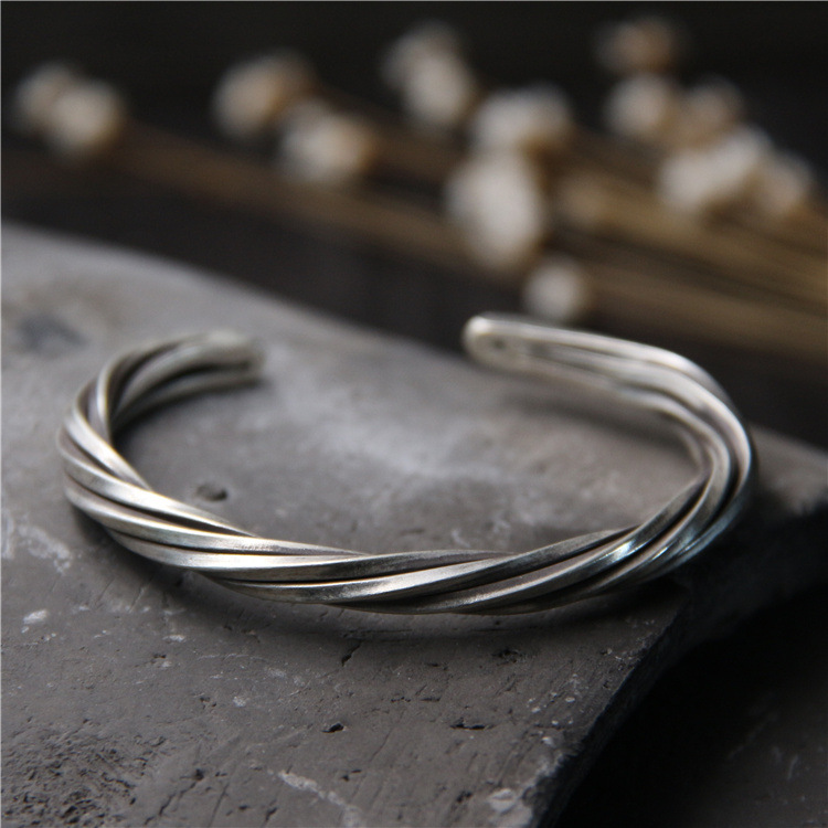 S925 Sterling Silver Braided Twisted Retro Thai Silver Men And Female Personality Handmade Silver Open Ended BangleS925 Sterling Silver Braided Twisted Retro Thai Silver Men And Female Personality Handmade Silver Open Ended Bangle