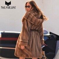 Oversized Mink Fur Hoods Collar Real Fur Jackets Brand Quality Wholeskin Mink Fur Coats For Women Warm Winter Outerwear Clothes