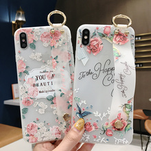 3D Relief Summer Rose Flower Phone Case for iPhone X 6 6S 7 8 Plus 10 Wristband Holder Matte Cover For XR XS Max Funda