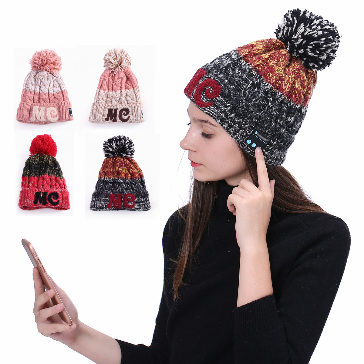 Fashion Warm Music Hat Bluetooth Headphone Song Beanie for Winter Sport Hands free Call Wireless Earphones Headband Cap Headset