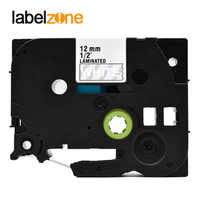 12mm white on clear Tze135 Laminated Label Tape Compatible Brother p-touch label printers Tze-135 Tze135 tz135 tz-135 tze tape
