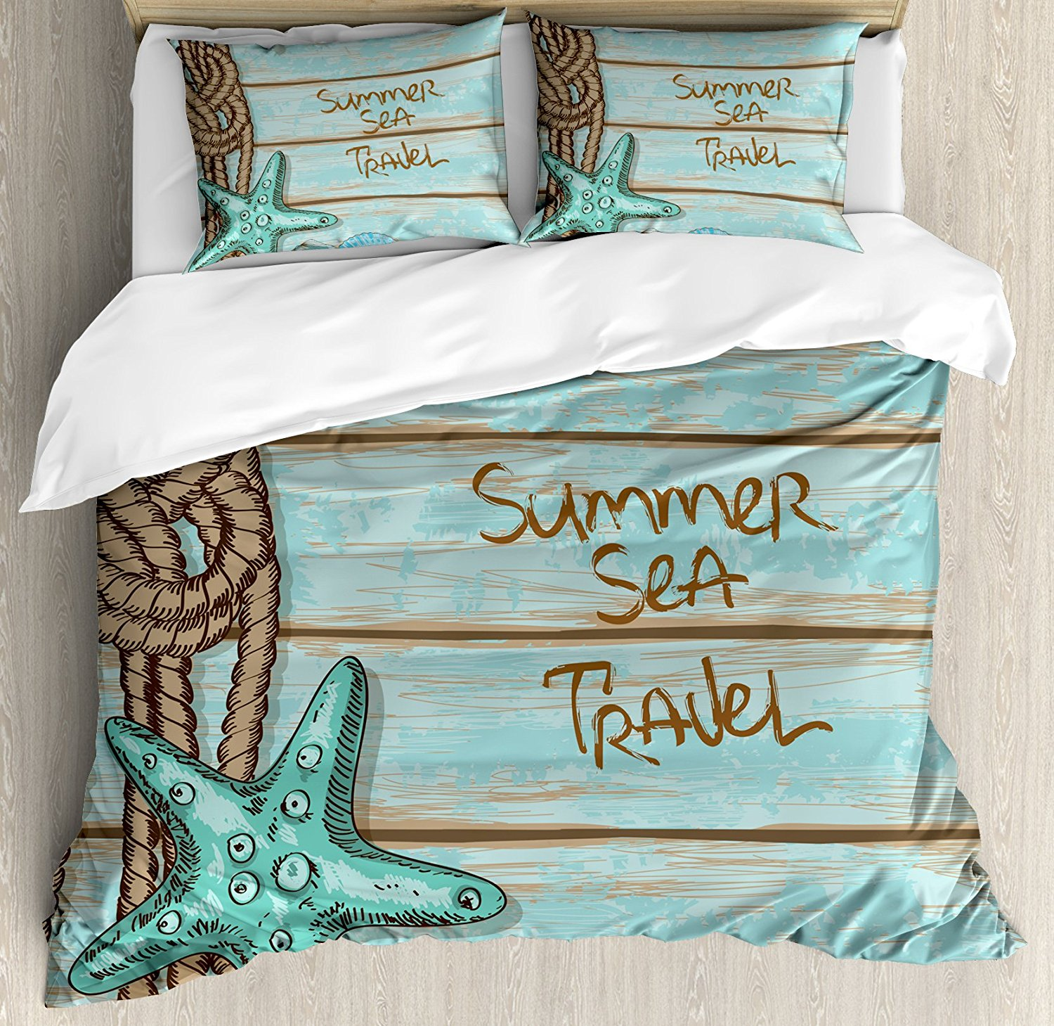 Starfish Decor Duvet Cover Set Summer Sea Travel Retro Boards of Ship Deck Rope Scallops Bedding Set Brown Mint Green Turquoise