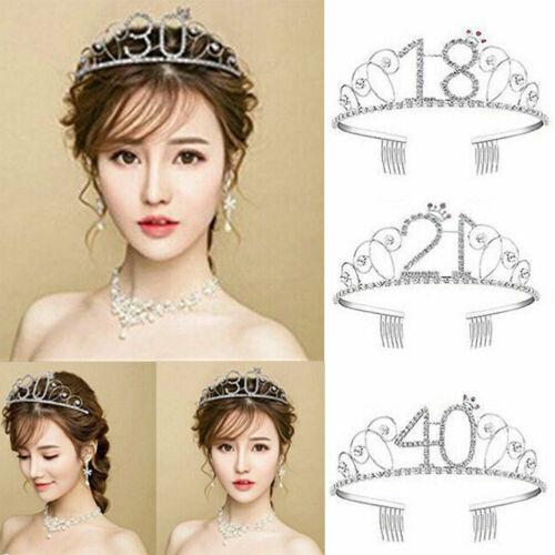 Anniversary Birthday 16/18/20/30/40th Silver Rhinestone Tiara Crown Headband