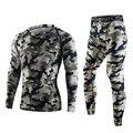 Tops + pants 2 sets calidad camuflaje men underwear thermo long johns térmica establece ropa de compresión de sudor de secado rápido de los hombres