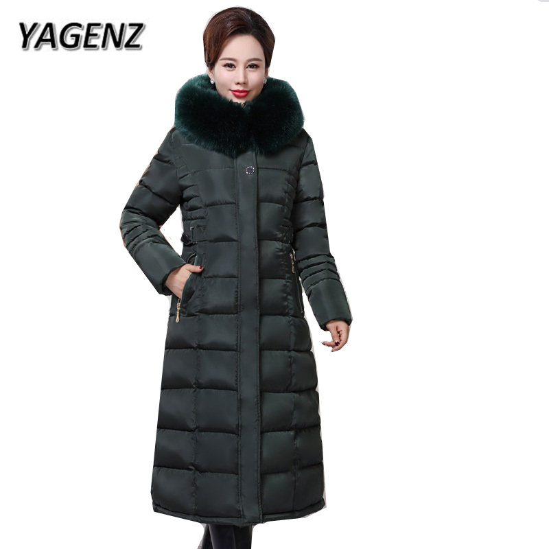 2018 Winter Hooded Jacket Women Coat Slim Down cotton Thick Warm Long Coats Parkas Lady Fur collar casual Jacket Female Clothing jolintsai winter jacket women mid long hooded parkas mujer thick cotton padded coats casual slim winter coat women