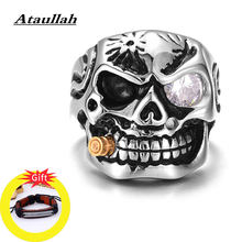 Ataullah Gothic Skull Ring Male Punk Rock Finger Ring Antique Vintage Domineering Exaggeration Jewelry for Man Gift RW043(China)