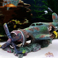 Resin Fish Tank Ornament Cave Aquarium Decoration Damaged Battleplane Plane