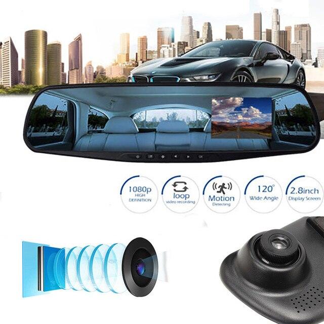 Full HD 1080P Car Dvr Camera Auto 2.8 Inch Rearview Mirror Digital Video Recorder Dual Lens Registratory Camcorder #N