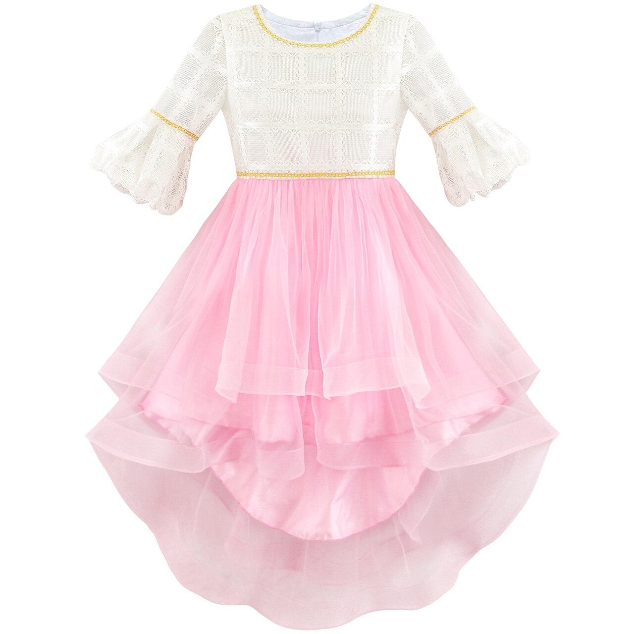 Sunny Fashion Flower Girl Dress White and Pink Hi-Lo Party Dancing Pageant 2018 Summer Princess Wedding Dresses Size 6-14 тарелка хай хэт zultan 14 aja hi hat