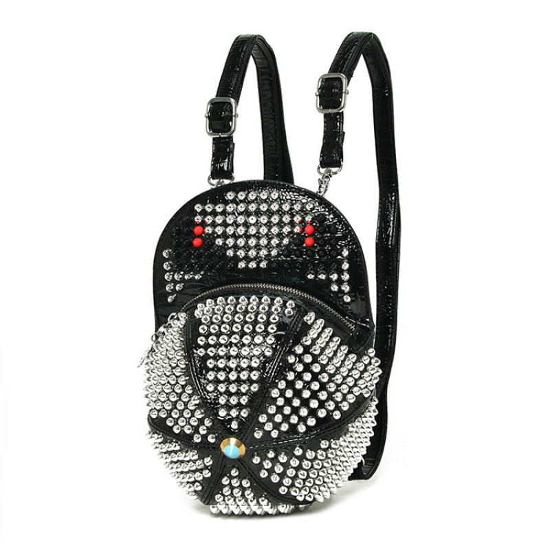 Designer Rivet Women's Backpacks Hat Shape Bagpack Punk Style Daily Bags for Girls School Bag Ladies Shoulder Bags Mochila A0335 jetley 1 a0335