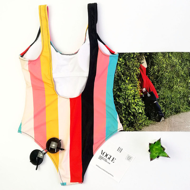 Color striped black white swimming suit for women sport one piece swimsuit for girls Leotard female swimwear women 2018 monokini 3